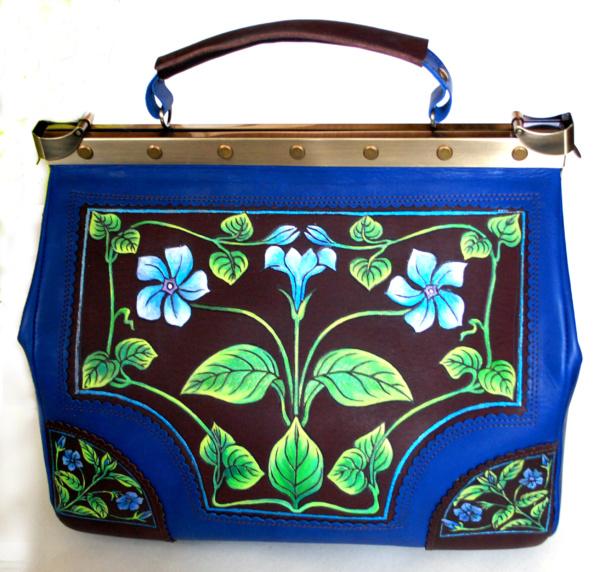 Синий саквояж «Сапфир» из кожи с росписью