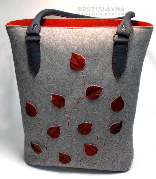 Серая сумка-тоут с листьями