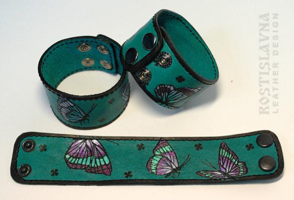 Браслет с бабочками бирюзовый