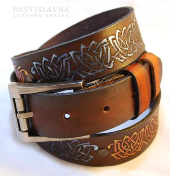 Ремень кожаный с кельтским орнаментом