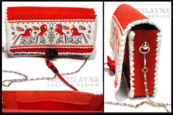 Клатч красный фетровый с мезенским орнаментом