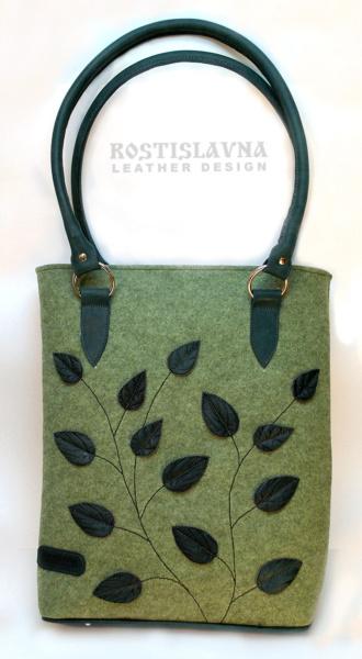 Сумка-тоут фетровая зеленая с листьями нефритового цвета