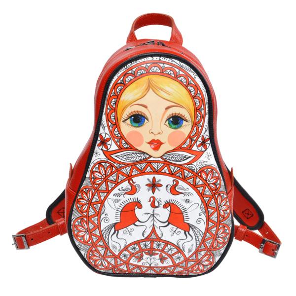 Рюкзак-матрешка красный кожаный с ручной росписью узорами русского севера