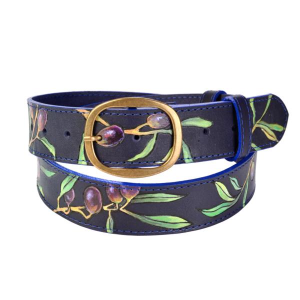 Ремень кожаный синий с росписью «Оливки»