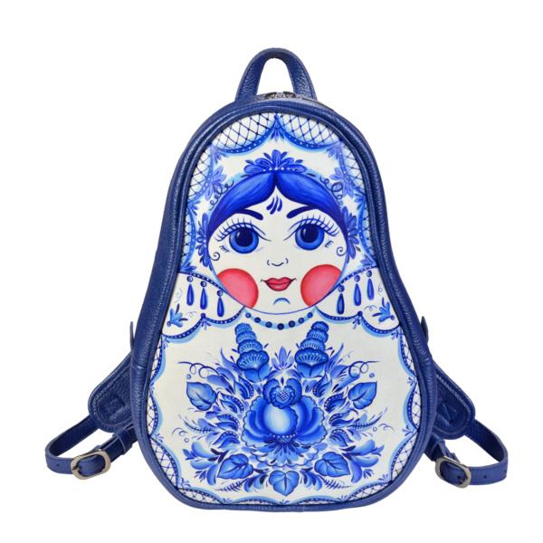 Рюкзак-матрешка кожаный с ручной росписью ярко-синий