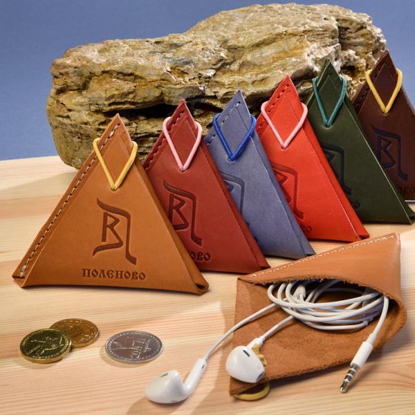Мини-кошелек кожаный с логотипом для мелочи или наушников