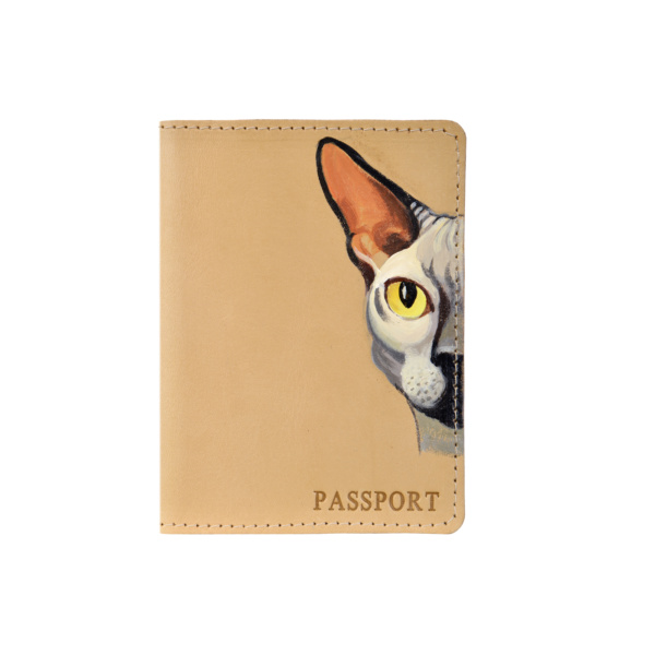 Обложка на паспорт кожаная бежевая «Сфинкс» №1
