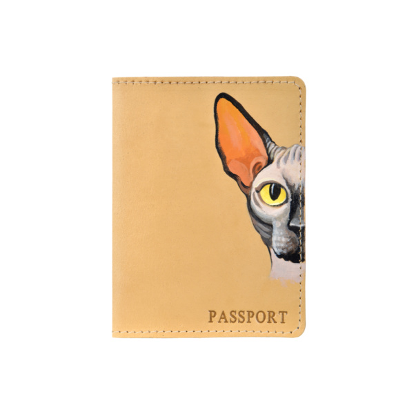 Обложка на паспорт кожаная бежевая «Сфинкс» №2