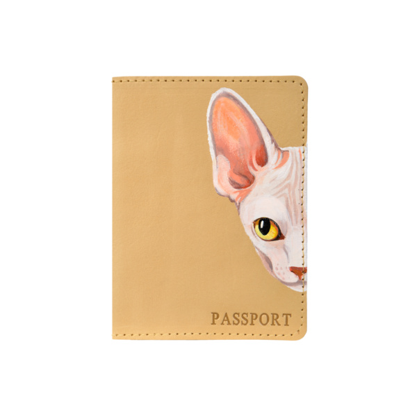 Обложка на паспорт кожаная бежевая «Сфинкс» №3