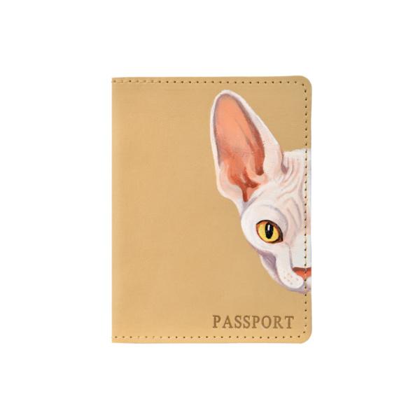 Обложка на паспорт кожаная бежевая «Сфинкс» №4