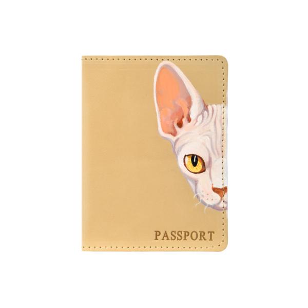 Обложка на паспорт кожаная бежевая «Сфинкс» №5