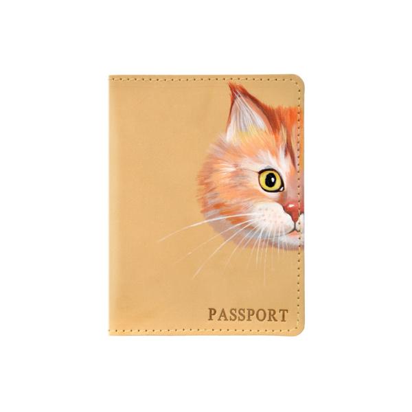 Обложка на паспорт кожаная бежевая «Рыжик» №1