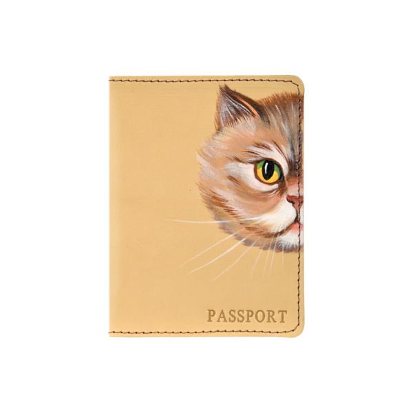 Обложка на паспорт кожаная бежевая «Рыжик» №2