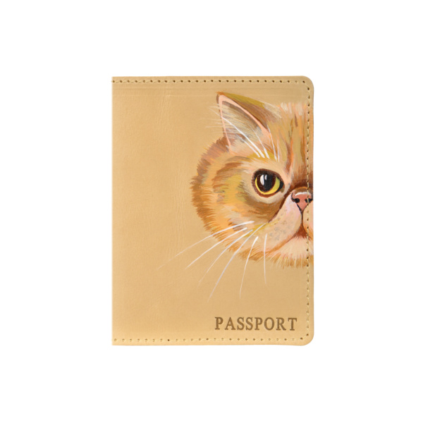 Обложка на паспорт кожаная бежевая «Перс» №1