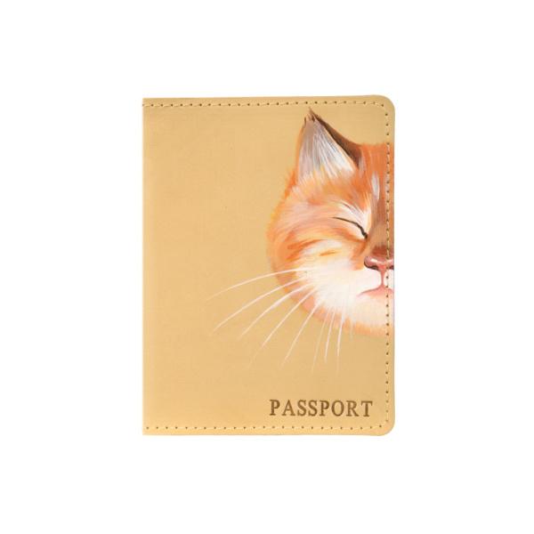 Обложка на паспорт кожаная бежевая «Рыжик» №3
