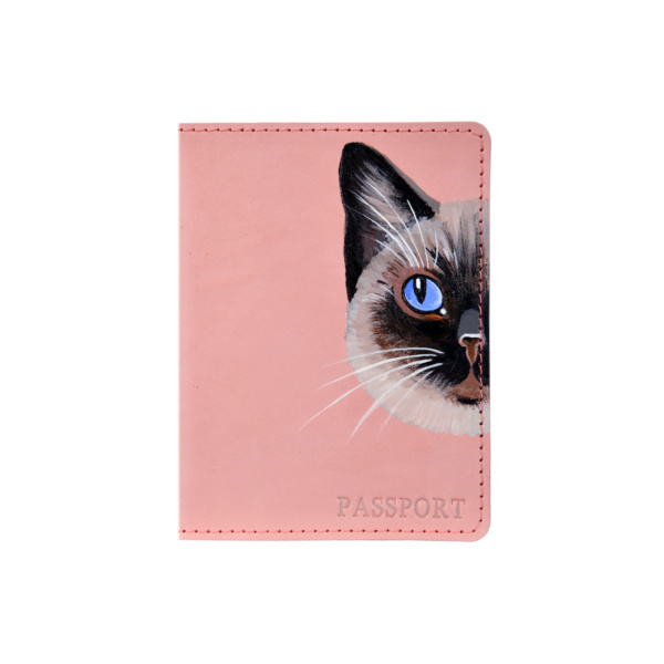 Обложка на паспорт кожаная розовая «Сиамка» №1