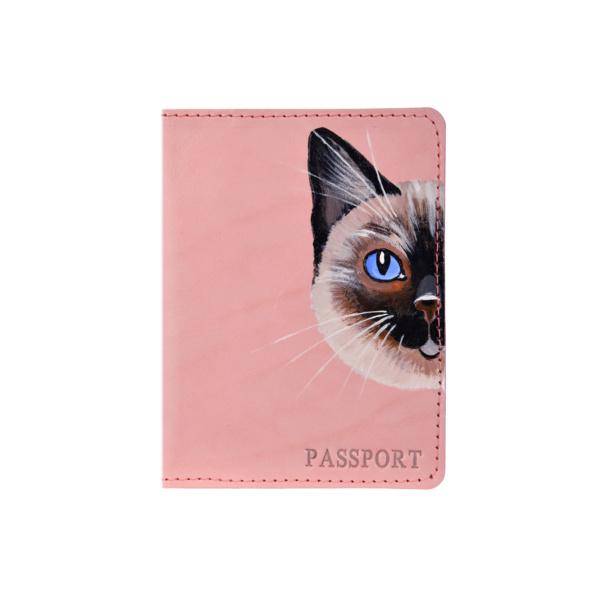 Обложка на паспорт кожаная розовая «Сиамка» №2