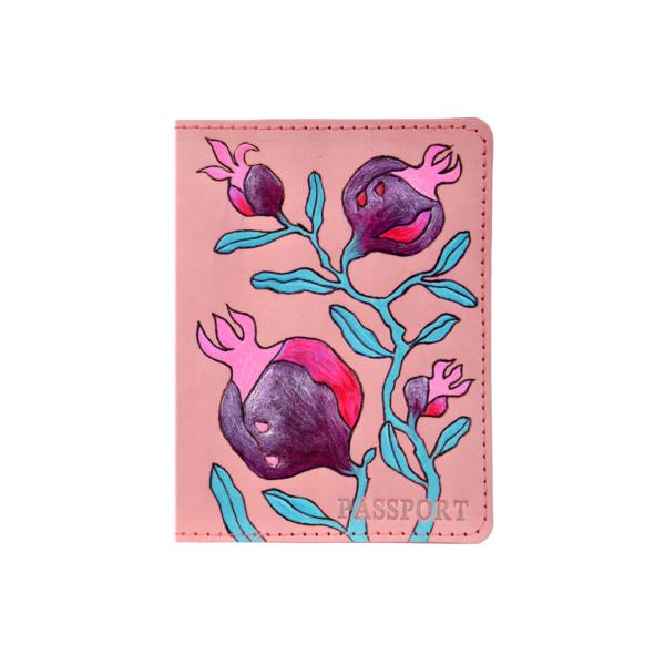 Обложка на паспорт кожаная розовая «Гранаты» №1