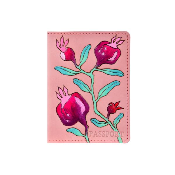 Обложка на паспорт кожаная розовая «Гранаты» №2