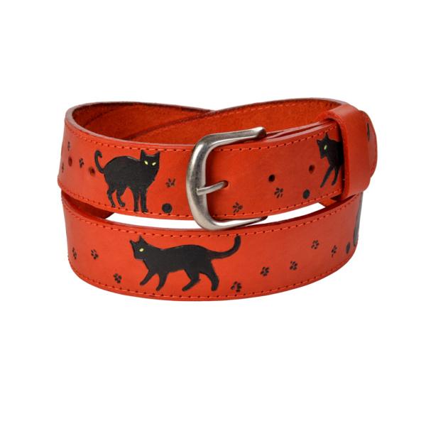 Ремень №22 «Черный кот на красном»