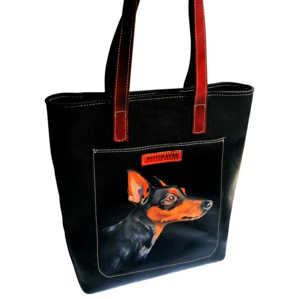 Тоут кожаный черный с росписью на заказ «Любимая собака»